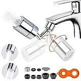 [720°]Grifo con filtro antisalpicaduras universal, giratorio a la acción, aireador gran angular, doble función, espumador giratorio, grifo pulverizador para cocina, cuarto de baño