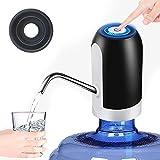 Tesosy Dispensador de Agua con 1 Multifunción Adaptadore, Bomba Grif para Extraer Agua de Garrafas y Botella, para Agua de Barril 4.5L / 5L / 7.5L / 10L / 11.3L / 15L / 18.9L, Negro