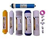 Nature Water Professionals Pack de 5 Filtros Osmosis Inversa Universales y Membrana Vontron de 50GPD para Equipos de Osmosis + Pack de Conectores, T y Rollo Teflon - Filtros de Alto Rendimiento