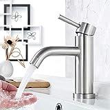 Faulkatze Grifo de lavabo de acero inoxidable, grifo de baño, grifo de lavabo monomando, para cuarto de baño, cepillado mate