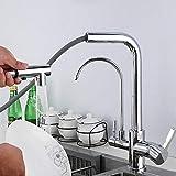 Grifo Fregadero Cocina 3 Vias Grifos de Cocina Extraíble Caliente y Fría Multifuncional Purificación Directa de Agua Potable Grifo de Fregadero de Cocina-Cromo