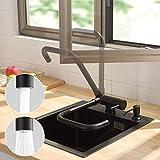 CECIPA Grifo Cocina Abatible Negro con 2 Tipos Chorros Agua Grifo Plegable Cocina para Ventana Frontal Grifo Abatible para Fregadero Grifo Giratorio de 360° de Alta Presión para Cocina