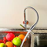 Grifo de Cocina Caño Giratorio a 360° Acero Inoxidable Grifo Cocina de Agua Fría Grifo de Fregadero Grifo Giratorio de Pared, Cromo