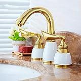 De lujo de 3 piezas Set grifo del lavabo del cuarto de baño del mezclador cubierta montó el golpecito del fregadero inodoro grifo de oro de acabado griferías, 01