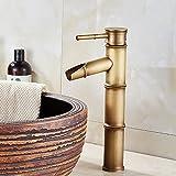 Grifo de baño, grifo de lavabo de bronce retro, grifo de un solo orificio de agua fría y caliente, adecuado para diámetros interiores de 32 mm a 40 mm