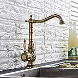 Saeuwtowy - Grifo para fregadero de cocina, cocina familiar moderno y cuarto de baño, grifo mezclador de cobre antiguo con palanca, lavabo con boquilla giratoria