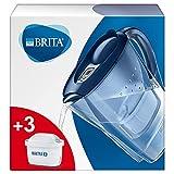 BRITAMarellaJarra con filtro de agua para nevera para reducir el cloro, la cal e impurezas, Incluye 3 cartuchos de filtro MAXTRA +, 2,4 L, azul