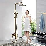 Onyzpily Grifo de ducha dorado con ducha de lluvia y alcachofa de ducha, sistema de ducha para cuarto de baño con bañera, sin grifo, ducha cascada