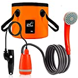 Ducha Portátil Camping Kit, Bomba de Ducha Campamento con Batería Recargable USB 4400mAh, Estable de 2.5L/min Flujo Agua Cabezal Ducha con Cubo Colapsable de 20L para Senderismo, Viajes