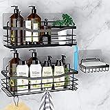 Orimade Adhesivo Estantes Cesta para Ducha Estanteria con 5 Colgadores Organizador Baño SUS304 Acero Inoxidable Sin Taladro - Pack de 3 (Negro)