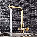 JYHW Grifo de filtro de agua de 3 vías de color dorado Mezclador de fregadero de tres vías Grifo de cocina de 3 vías Mezclador de fregadero de cocina giratorio 360